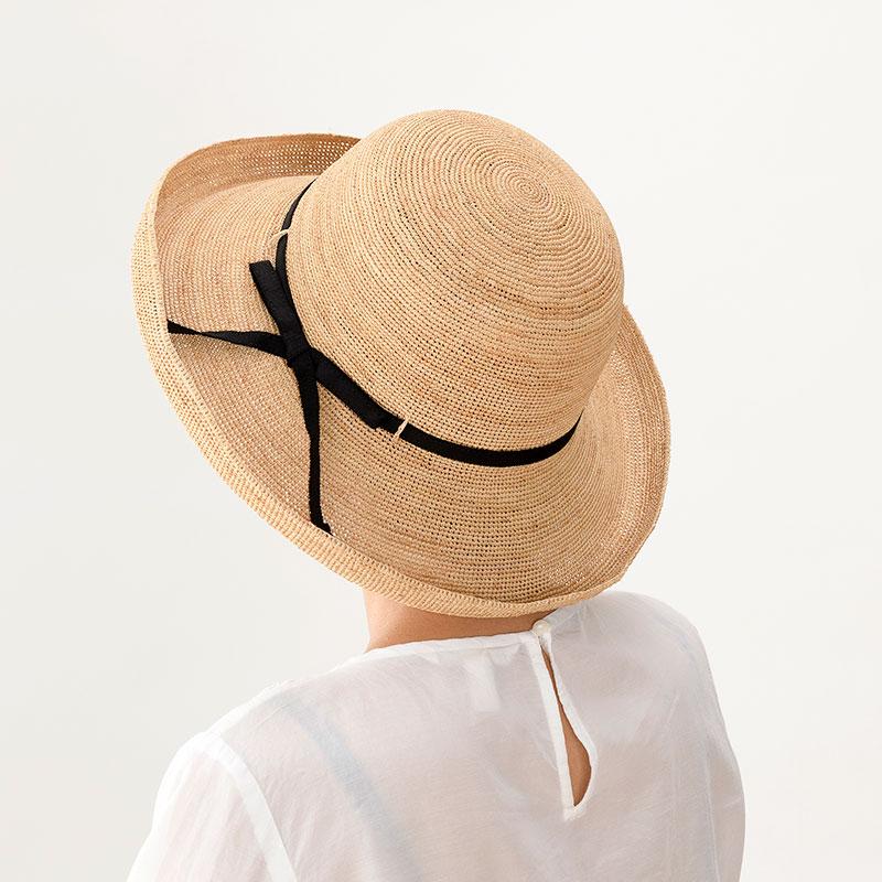 田中帽子店 uk-h093 Claire クレール ラフィア エッジアップリボン 57.5cm