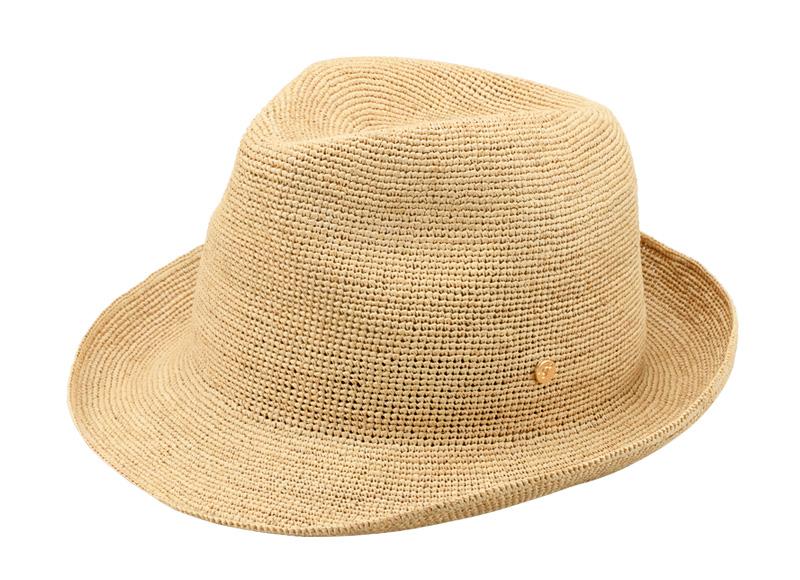田中帽子店 uk-h094 Caul カール ラフィア チャーム付き 中折れ帽子 57.5cm 柔らかく丈夫なラフィアで作ったたためる中折れラフィアハット