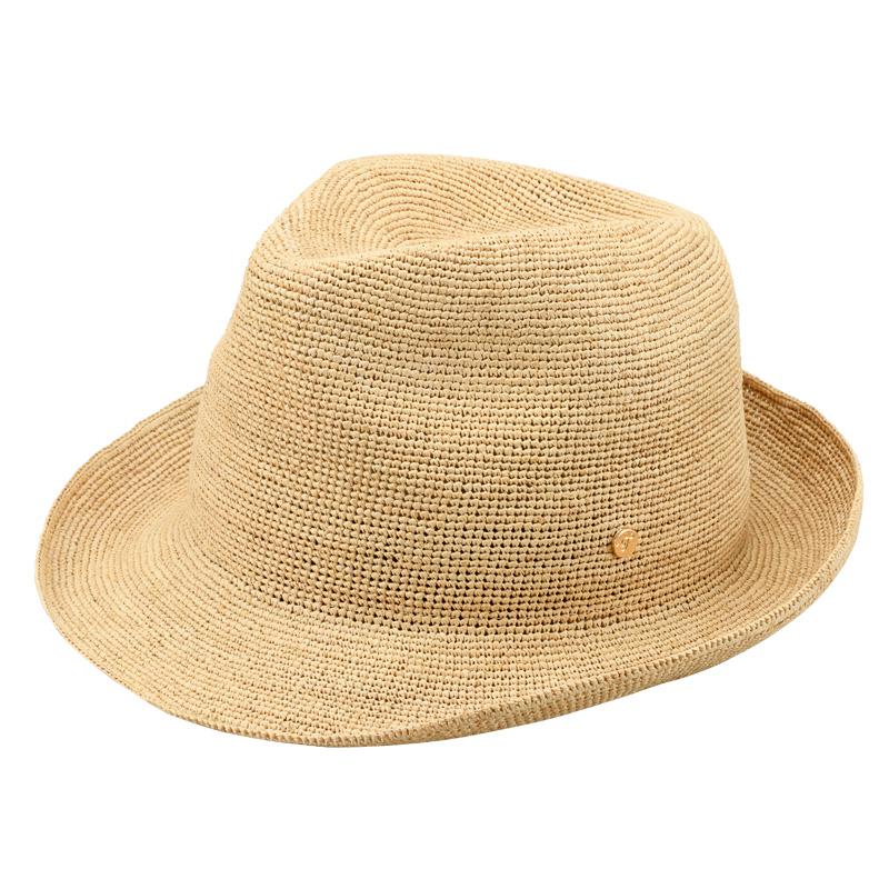 田中帽子店 uk-h094 Caul カール ラフィア チャーム付き 中折れ帽子 57.5cm ナチュラル