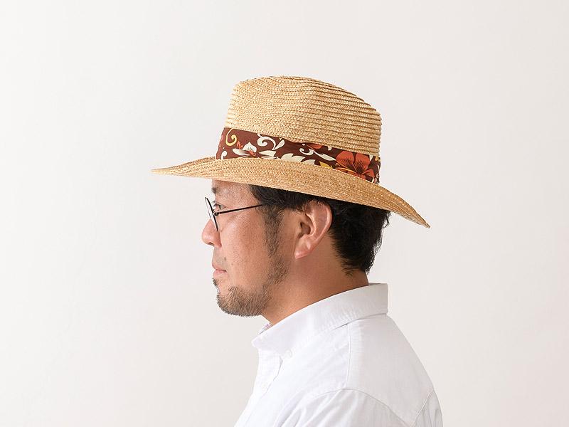 田中帽子店 uk-h106 GOLF アロハ 麦わら テンガロン型ゴルフハット