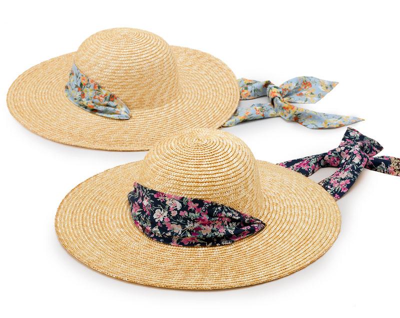 田中帽子店 uk-h108 Fiore フィオーレ ガーデニングハット 57.5cm リバティ風小花柄 小花柄のおしゃれなリボンがアクセント。 つばが広く、日除けに最適な麦わら帽子