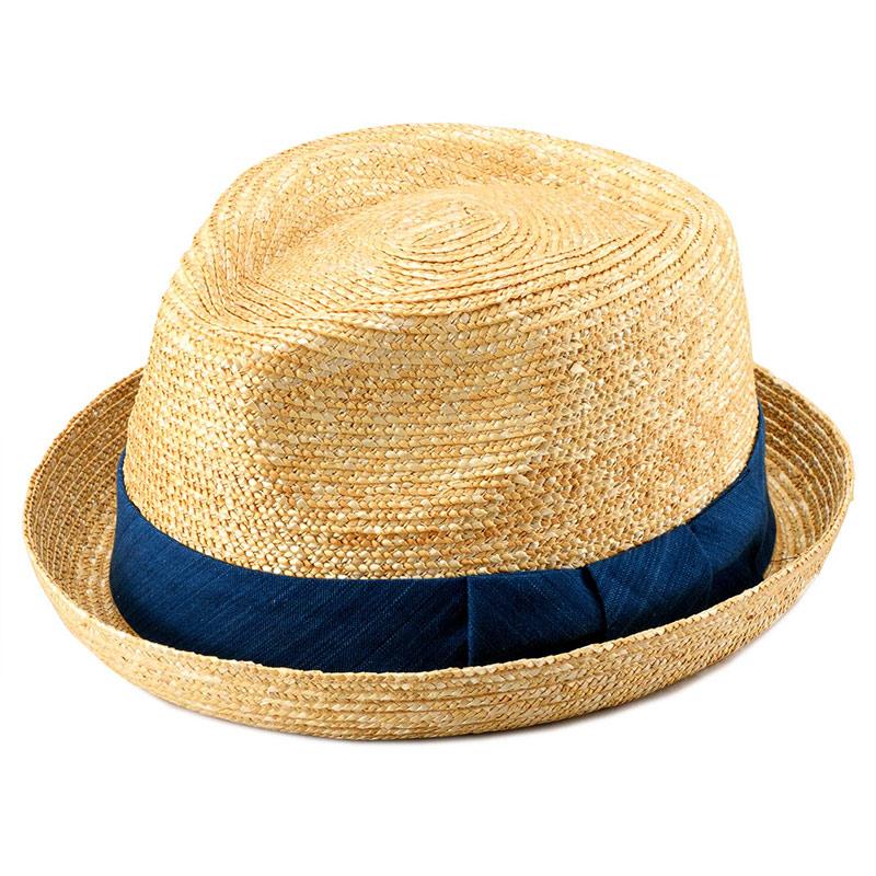 田中帽子店 小島屋 uk-kh077 藍染 小つば中折帽 ベージュ