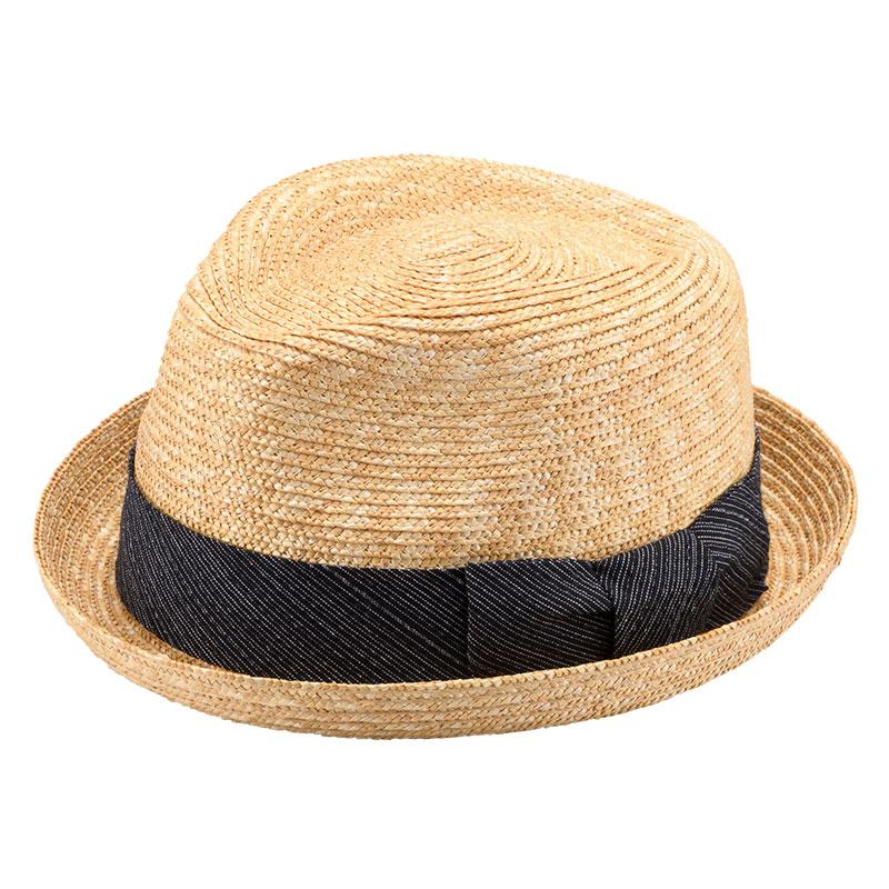 田中帽子店 uk-sh077 阿波しじら織りリボン 小つば中折帽 ナチュラル×ブラック
